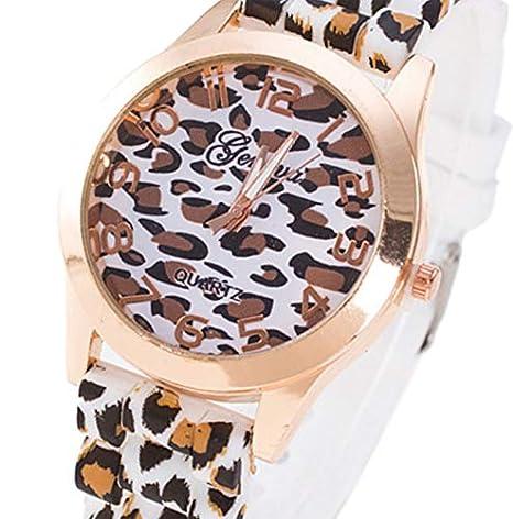 Yivise Unisex Fashion Leopard Silicone Jelly Gel Correa de Reloj de Cuarzo Analógico Dial Redondo Reloj de Pulsera(B): Amazon.es: Relojes