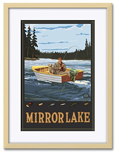 Mirror Lake New Hampshire Fisherman In Boat Forest Professionally Framed & Matted Giclee Travel Art Print by Paul A. Lanquist. Print Size: 12