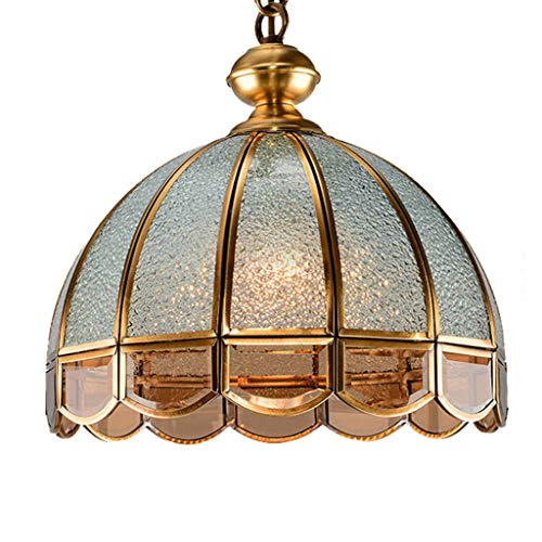 Dining Room Copper Pendant Light, Mediterranean Style Transparent Glass Chandelier Living Room Corridor Hanging Lamp Tea Room Restaurant Cafe Ceiling Lamp Fixture,Brass ()