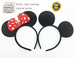 Perfec Mickey Mouse Ears Solid Black and Bow Minnie...