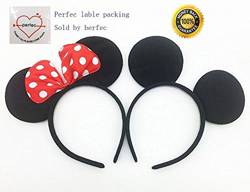 Plush Mouse Child Costumes Kit - Perfec Mickey Mouse Ears Solid Black and Bow Minnie Headband For Boys and Girls Birthday Party Mom Baby Hairs Accessories Girl Headwear Party Decoration Baby Shower Halloween Set Of 2