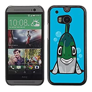Colorful Printed Hard Protective Back Case Cover Shell Skin for All New HTC One (M8) ( Funny Angry Fish Illustration )