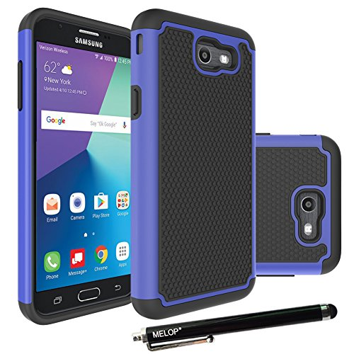 Galaxy J7 2017 Case, Galaxy J7 V / J7 Prime / J7 Perx Case / J7 Sky Pro / Galaxy Halo Case, MELOP Hybrid Dual Layer Tough Ultra Defender Drop Protective Case Cover for Samsung Galaxy 7(2017) - Blue