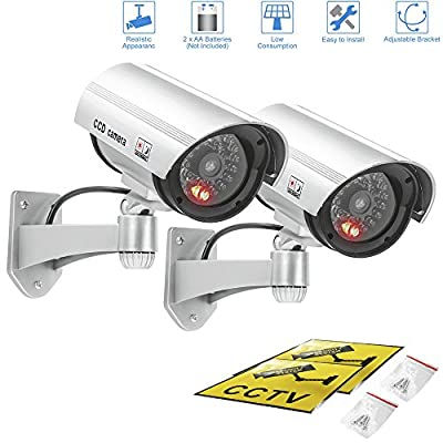 Fake camera,Outdoor & Indoor Fake/ Dummy Security Camera w/ Flashing Red Light For Night,Bullet CCTV Surveillance System With Realistic Look Recording LEDs 2 pack (Silver)