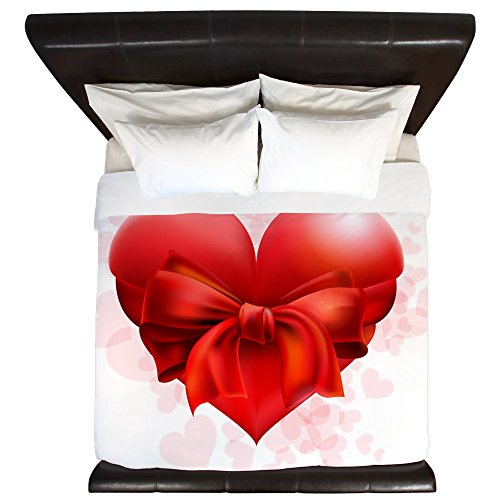 King Duvet Cover Heart with Red Bow by Truly Teague