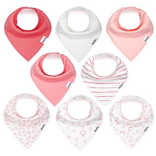 Bandana Bibs for Girls, Set of 8 Baby Drool Bibs with Adjustable Snaps, Soft, Absorbent, Organic Cotton, Newborn Baby Shower Gift, Toddler Girl Bibs for Drooling, Teething and Feeding by KiddyStar (Toddler Stripes Bib)