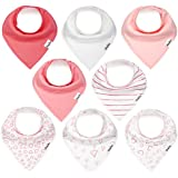 Bandana Bibs for Girls, Set of 8 Baby Drool Bibs with...