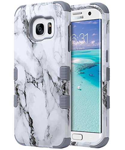 ULAK Galaxy S7 Edge Case, 3 in 1 Hard PC + Soft Silicone Hybrid Dust Scratch Resistance Protective Cover for Samsung Galaxy S7 Edge (Artistic Marble Pattern)