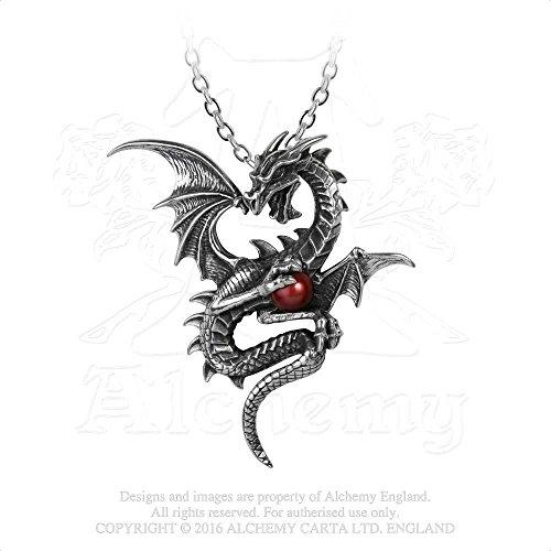 Aethera Draconem Ether Dragon Guarding 3d Red Swarovski Pearl Necklace By Alchemy Gothic (Nickel 3