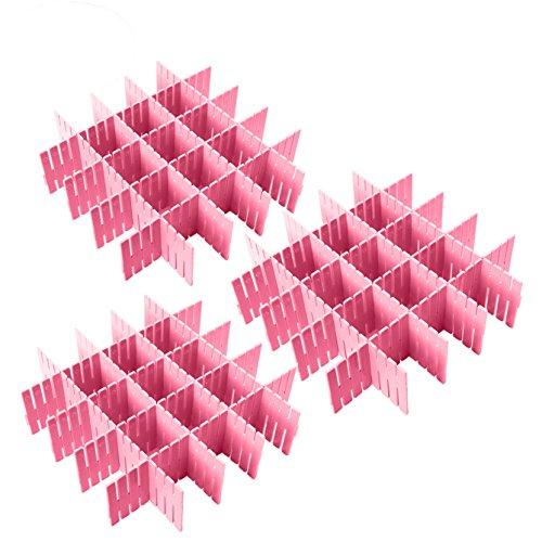 Plastic Desk DIY Grid Drawer Dividers Adjustable Tidy Closet Shelf Storage Organizers for Purses,Ties,Tshirts,Pens,Bras,Sock,Underwear,Scarves,Makeup,Kitchen Cutlery Flatware (Pink)
