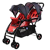Twin Baby Strollers, can sit Reclining high Landscape Children's car, Folding Two tire car Double Trolley Stroller red 51 * 99 * 103cm