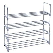 SONGMICS 4-Tier Shoe Rack Shoe Tower Shelf Storage Organizer Cabinet