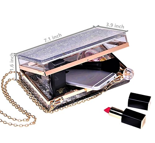 Purse For Evening Handbag Bride Party Sequins Prom Jevenis Clutch Silver Transparent qYIttUS