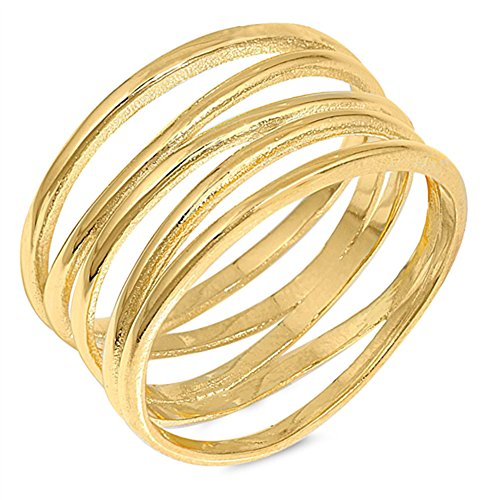 - Gold-Tone Wide Knot Bar Line Fashion Ring .925 Sterling Silver Band Size 12