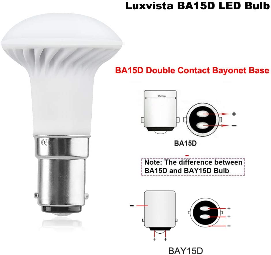 Luxvista 12V BA15D Double Contact Bayonet Base - R39/R12 5730 Boat Light Bulbs 1383 LED Bulb RV LED Replacement for RV Camper Trailer Motorhome 5th Wheel Marine Boat Light Warm White 3000K (2-Pack)