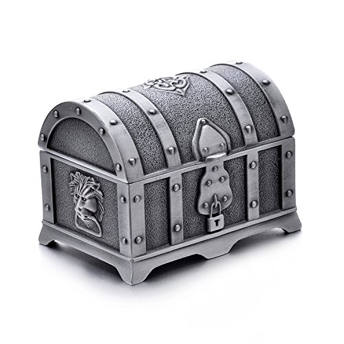 AVESON Rectangle Vintage Metal Treasure Chest Trinket Jewelry Box Gift Box Ring Case for Girls Ladies Women, Small, Tin Color