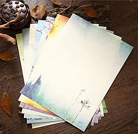 Stationery Paper,40 PCS Lovely Cute Kawaii Spring Writing Stationery Paper-8 Different Designs Big Flower