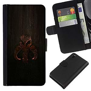 KLONGSHOP // Tirón de la caja Cartera de cuero con ranuras para tarjetas - Cartel de madera - Sony Xperia Z3 D6603 //