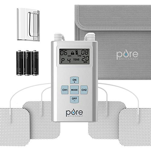 Pure Enrichment PurePulse Pro Advanced TENS Unit with LCD Display, 8 Therapy Programs, 25 Pulse...