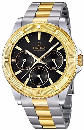 FESTINA unisex quartz Watch with black Dial analogue Display and Two tone stainless steel Bracelet F16691/5