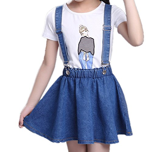 Oushiny Girls' Denim Skirt with Suspenders & T-Shirt 2pcs Set,Blue1,9-10