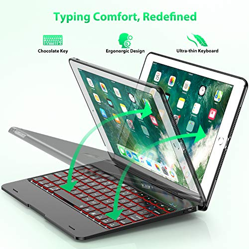Keyboard Case Compatible with iPad 2018 (6th Gen), iPad 2017 (5th Gen), iPad Pro 9.7,'' and iPad Air 1 and 2 - Features Detachable Design, Rotating Hinge and Adjustable Backlight (Black) by Tezzionas (Image #1)