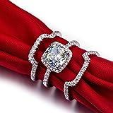 Mini World Silver 3 Carat G-H Cushion Princess Cut Synthetic Diamond 3PC Engagement Wedding Ring Sets