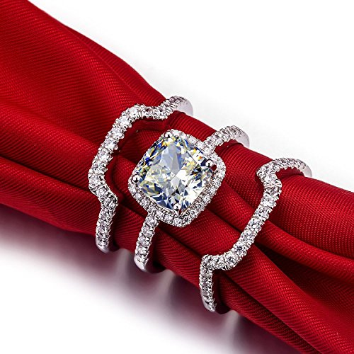 mini-world-3-carat-g-h-cushion-princess-cut-synthetic-diamond-3pc-engagement-wedding-ring-sets