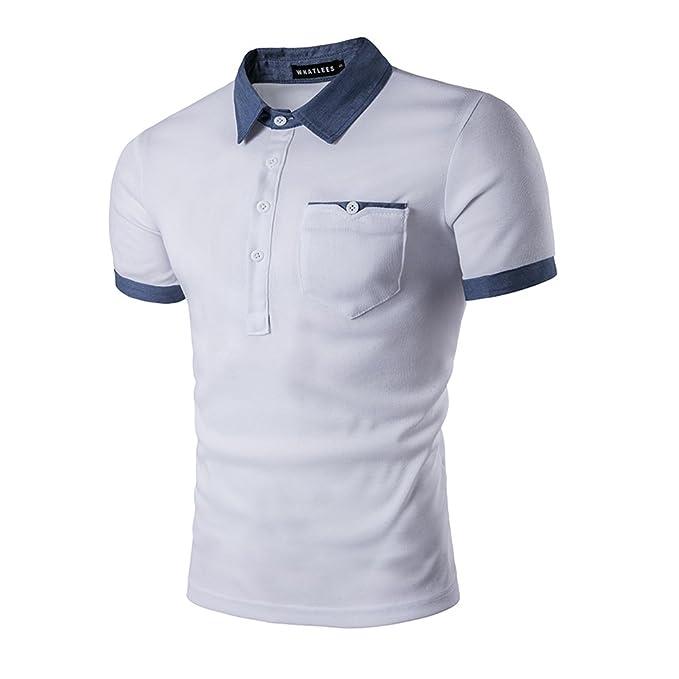 c4ce3a2615096 HerZii Camisetas Elegante Polos de Hombre Corta Manga  Amazon.es  Ropa y  accesorios