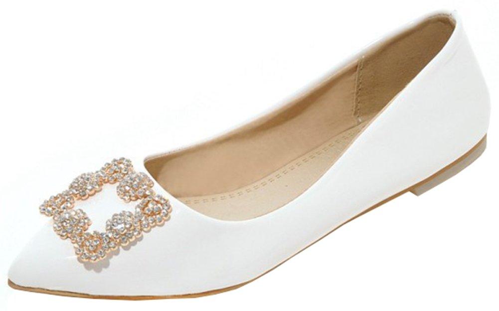 Mofri Women's Comfortable Rhinestone Pointed Toe Low Cut Slip on Flats Shoes (White, 8.5 B(M) US)