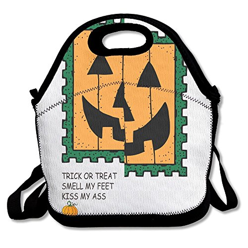 LINGLIII Pumpkin Face Trick Or Treat Kiss My Ass Cute Lunch Bag For Kids Lunch Bag Lunch Box Food Bag (Pokemon Trick Or Treat)