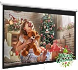 Projector Screen 100 Inch 16:9 - Auto-Locking Portable Projection Screen for 4K 3D 1080P HD - Manual Projector Screen Pull Down for Indoor Outdoor Home Theater Office Movies by PERLESMITH