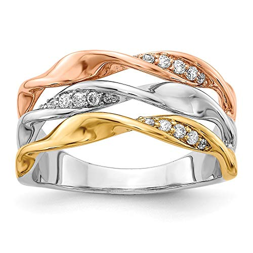 (14K Tri-color Gold Diamond Fancy Ring (0.162Cttw))