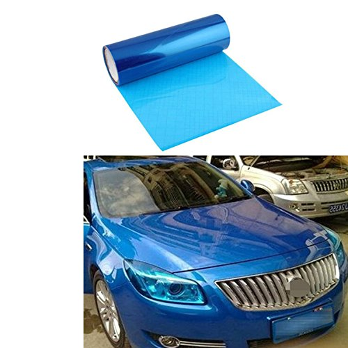 AZQKJ 200cm x 30cm Self Adhesive Headlights,Tail Lights,Fog Lights,Sidemarkers Tint Vinyl - Blue Lens Tint