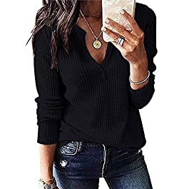 Women's Waffle Knit Tops Loose Long Sleeve V Neck Henley Shirts