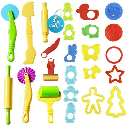 Caryko Smart Dough Tools Kit with Models and Molds, Set of 24, Animals