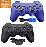 PS3 Controller, 2 Pack Wireless PS3 Controller Dual Vibration Gamepad with Charge Cable, Compatible with Playstation 3