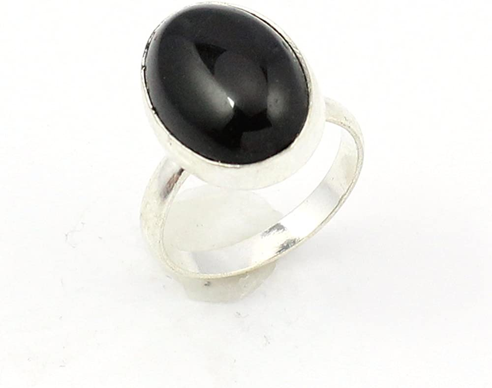 BEST QUALITY BLACK ONYX FASHION JEWELRY .925 SILVER PLATED RING S12672