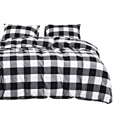 Black and White Duvet Set Wake In Cloud - Washed Cotton Duvet Cover Set, Buffalo Check Gingham Plaid Geometric Checker Printed in White Black and Gray, 100% Cotton Bedding, with Zipper Closure (3pcs, King Size)