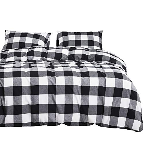 Wake In Cloud – Washed Cotton Duvet Cover Set, Buffalo Check Gingham Plaid Geometric Checker Printed in White Black and Gray, 100% Cotton Bedding, with Zipper Closure (3pcs, Queen Size)