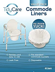 TidyCare Commode Liners – Value Pack - Disposable Bedside Commode Liners - 48 commode liners - Adult commode chair - Commode pail liners - Universal fit