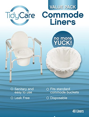 TidyCare Commode Liners  Value Pack - Disposable Bedside Commode Liners - 48 commode liners - Adult commode chair - Commode pail liners - Universal fit