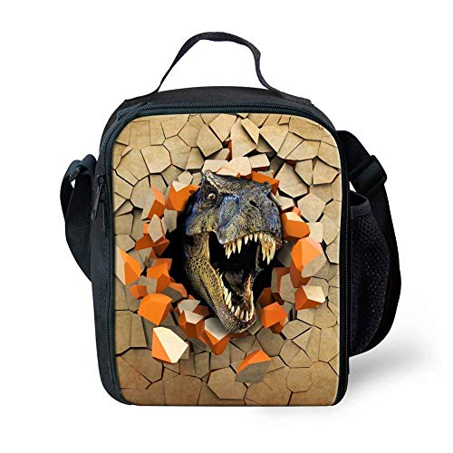 Coloranimal T Rex Dinosaur Pattern Cooler Warm Lunch Tote Bag for Toddler Kids Girls Boys Thermal Insulated Portable Purse ()