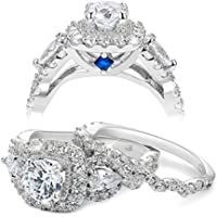 Newshe Engagement Wedding Ring Set for Women 925 Sterling Silver 2.4ct Round Pear White Cz Size 5-10