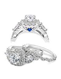 Newshe 2.4ct Round Pear White Cz 925 Sterling Silver Wedding Engagement Ring Set Bridal Size 5-10