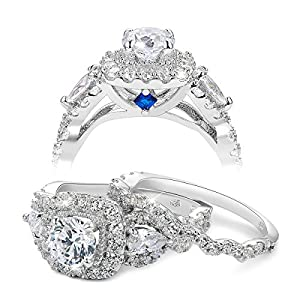 Newshe Engagement Wedding Ring Set for Women 925 Sterling Silver 2.4ct Round Pear White Cz Size 5-12