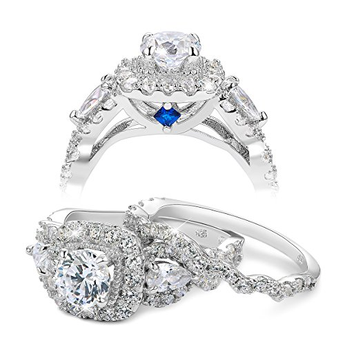 Newshe 2.4ct Round Pear White Cz 925 Sterling Silver Wedding Engagement Ring Set Bridal Size 8 (3 Ring Engagement Set)