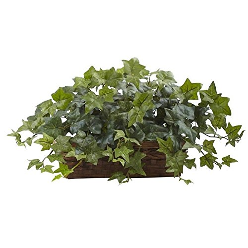 Nearly Natural Green Puff Ivy with Ledge Basket 12' Wire Basket