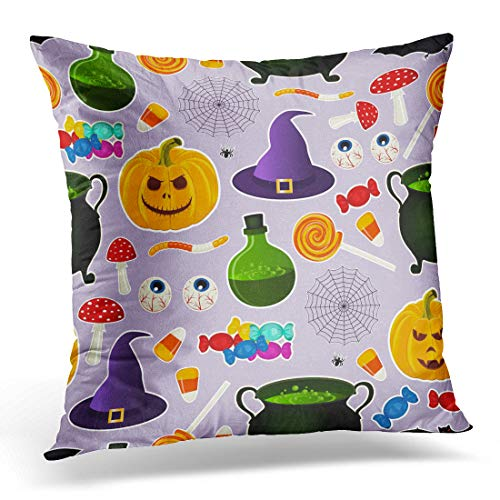 Emvency Throw Pillow Covers Case Related Halloween Holiday Object Silhouettes on Purple Traditional Witches Attributes Bright Decorative Pillowcase Cushion Cover for Sofa Bedroom Car 20 x 20 -