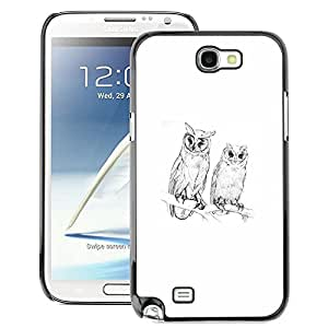 A-type Arte & diseño plástico duro Fundas Cover Cubre Hard Case Cover para Samsung Note 2 N7100 (Spring Nature Minimalist White Pencil)